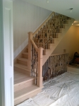 oak stairs before finishing